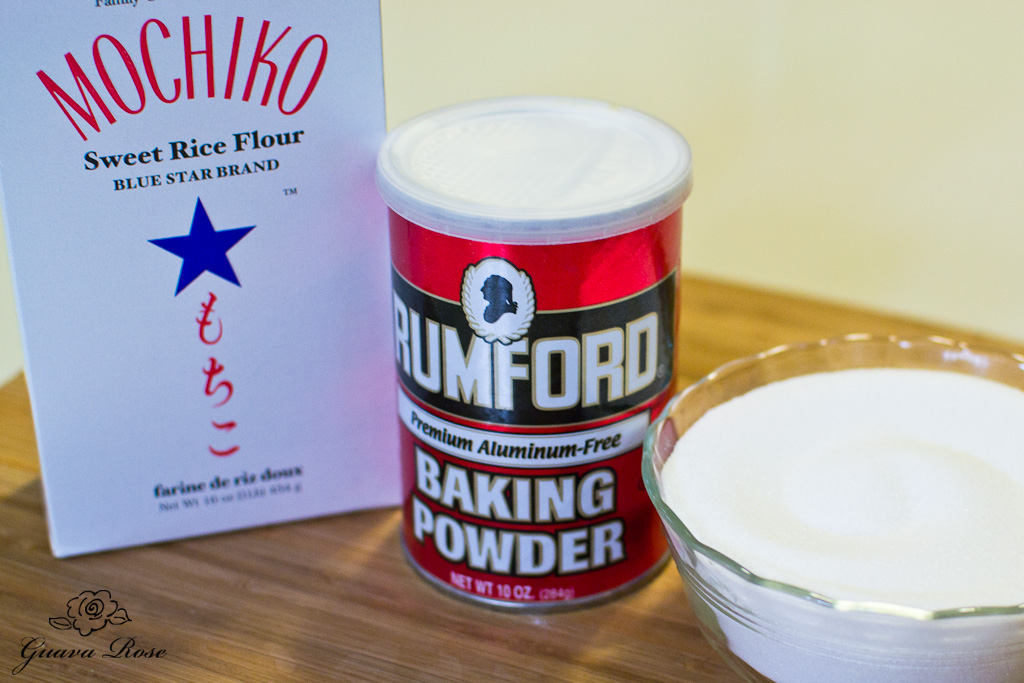 Mochiko,baking powder,sugar