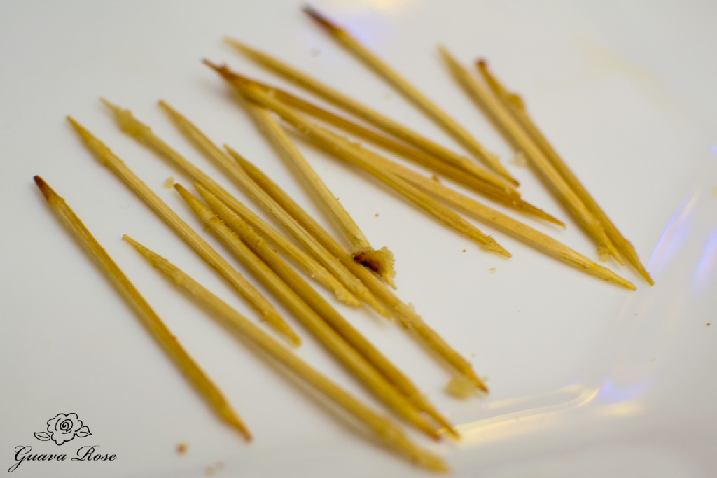 Toothpicks from cooked waffle dogs