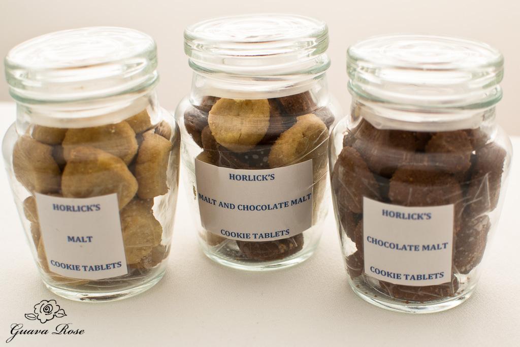 malt and chocolate malt cookies in jars