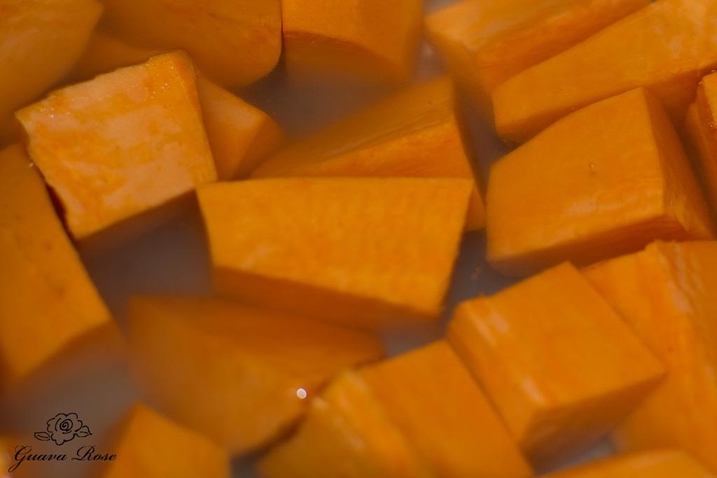 Sweet potato chunks in water