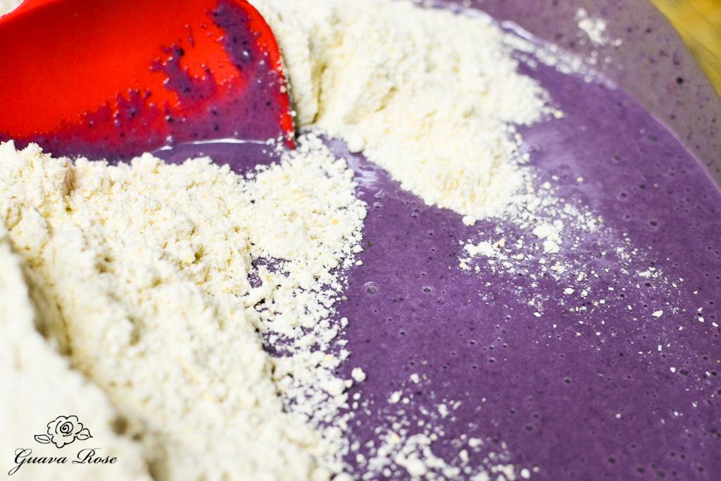 Mixing blueberry taro lava rock muffin batter