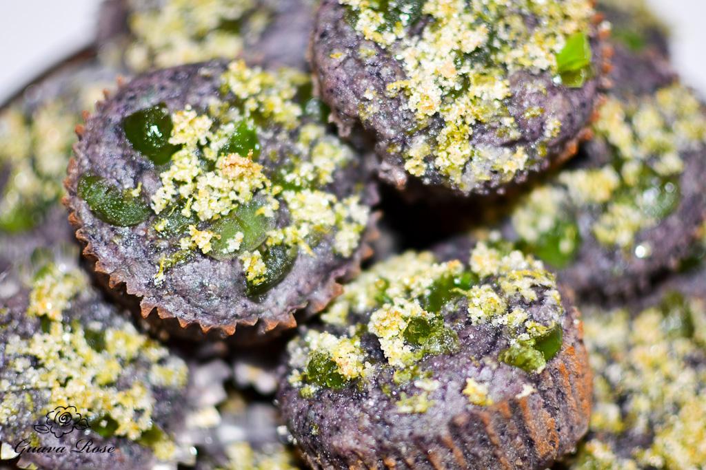 Blueberry taro lava rock muffins
