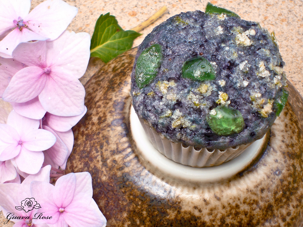 Blueberry taro lava rock muffin