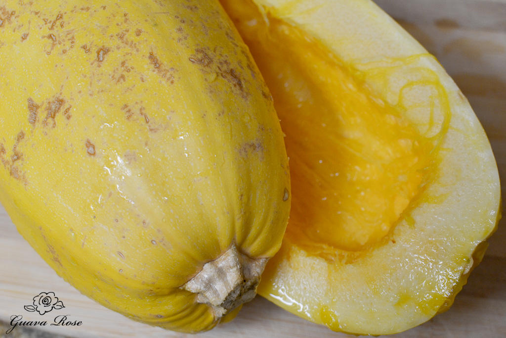 Spaghetti squash, halved and cleaned