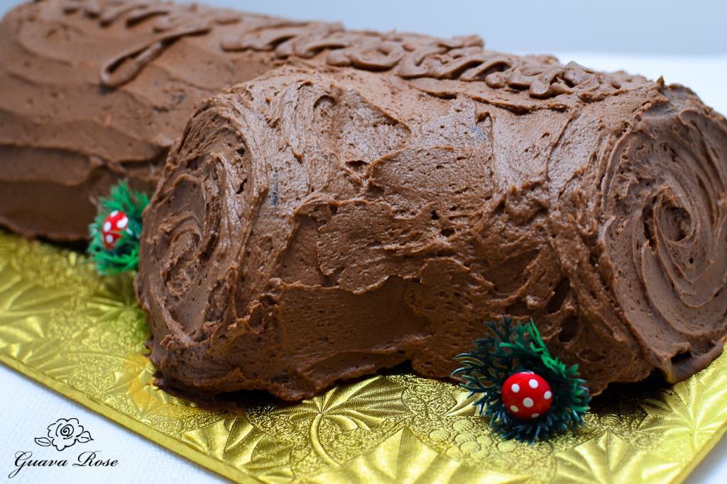 Buche de Noel side view of two swirled ends