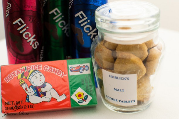 Childhood favorite candies: Horlick's malt cookie tablets, Flicks, Botan rice candy