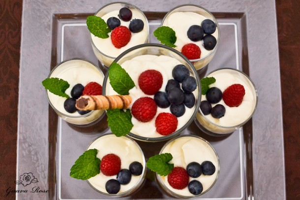 Custard Mousse cups, top view