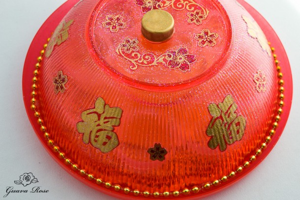 Chinese candy holder, top side view