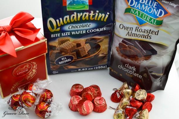Lindt truffles, choc almond kisses, choc pb cups, choc wafer coox, cocoa almonds