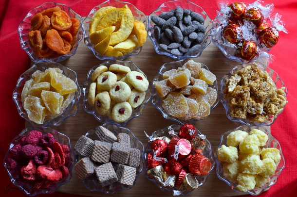 Cups of tong go and treats to fill chinese candy container
