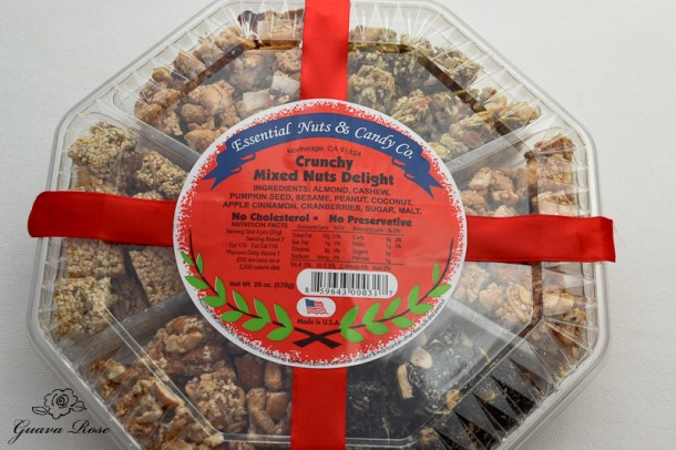Store bought nuts and seeds tong go, covered