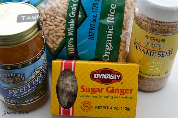 Ingredients for Sesame ginger puffed rice crunch