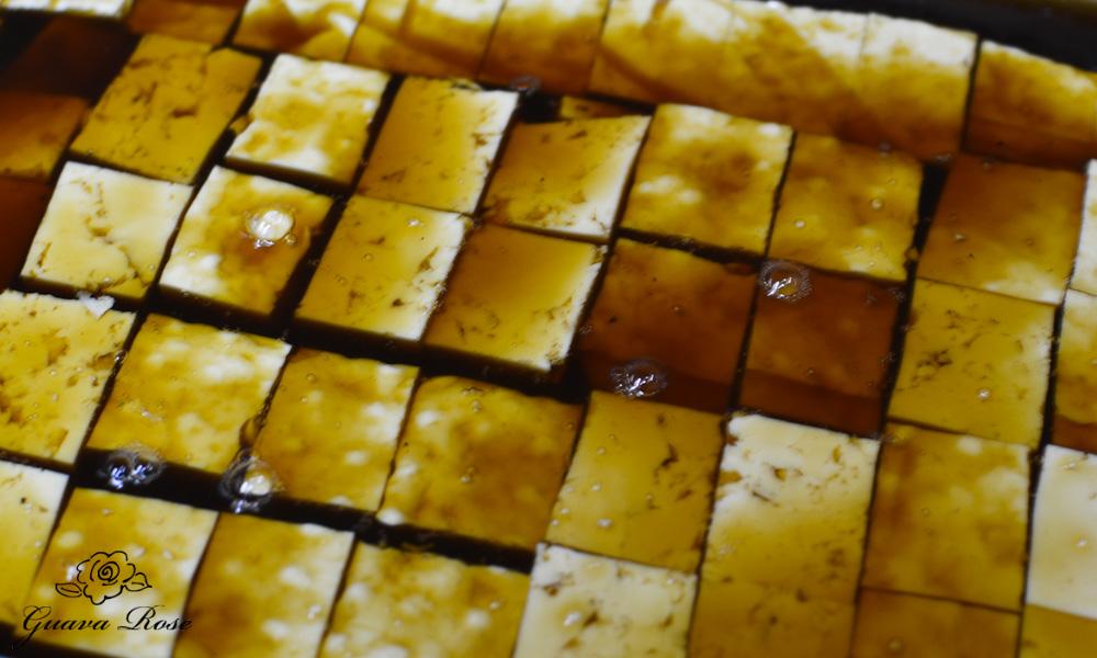 Tofu cubes in Lapsang Souchong sauce