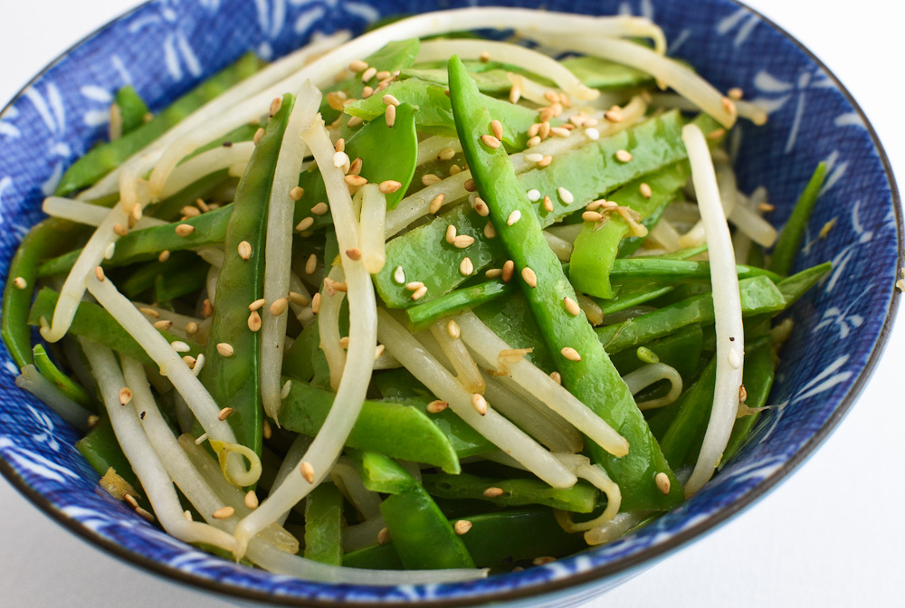 Stir fried bean sprouts and snow peas
