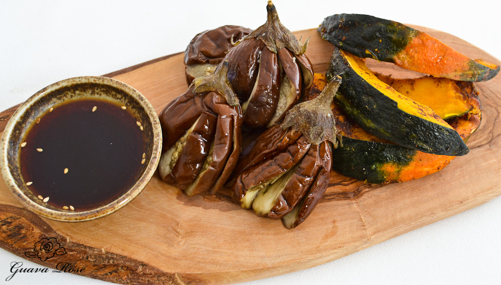 Roasted mini eggplant and Kabocha Squash