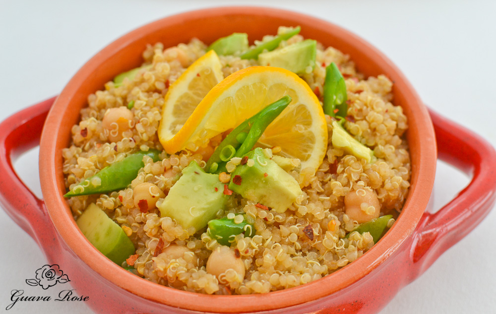 Quinoa w/lemon soy vinaigrette, close up