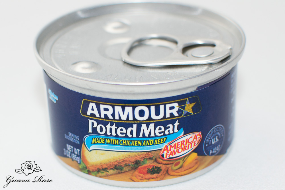 Canned potted meat, front view