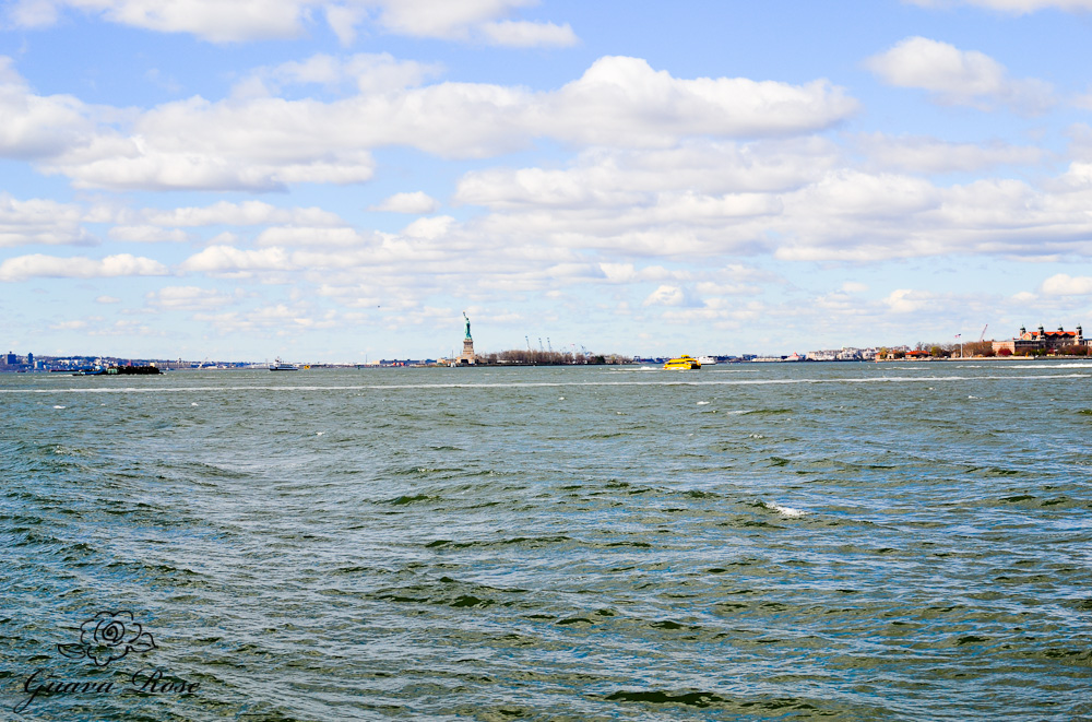 Statue of Liberty, far view from waiting in line