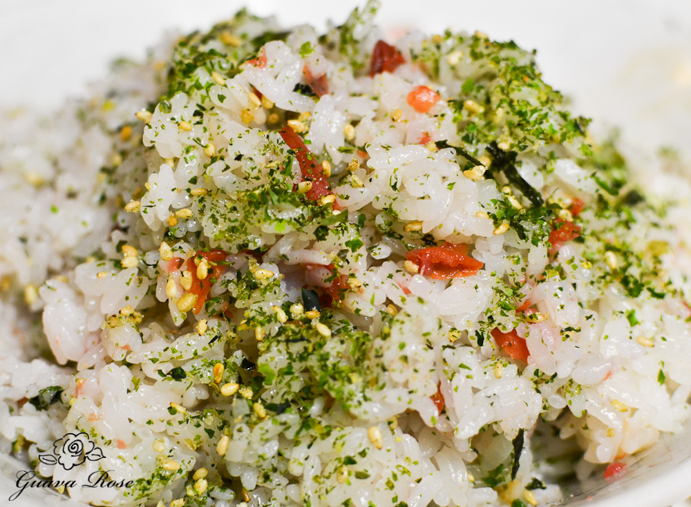 Rice mixed with ume and furikake