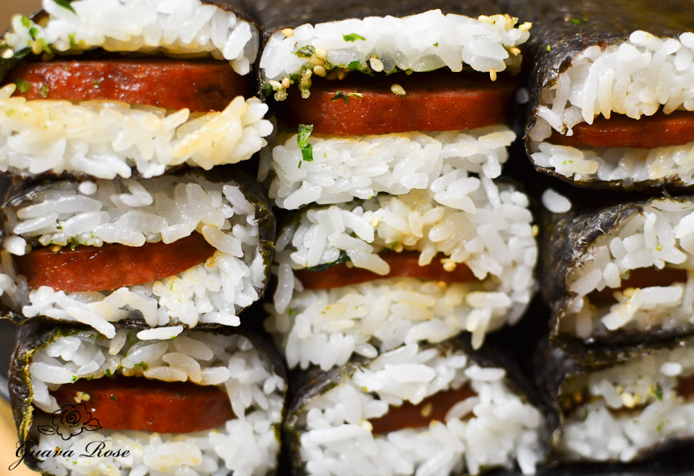 Stacks of spam musubi, front view
