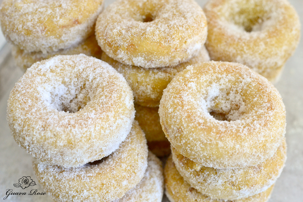 Stacks of baked donuts