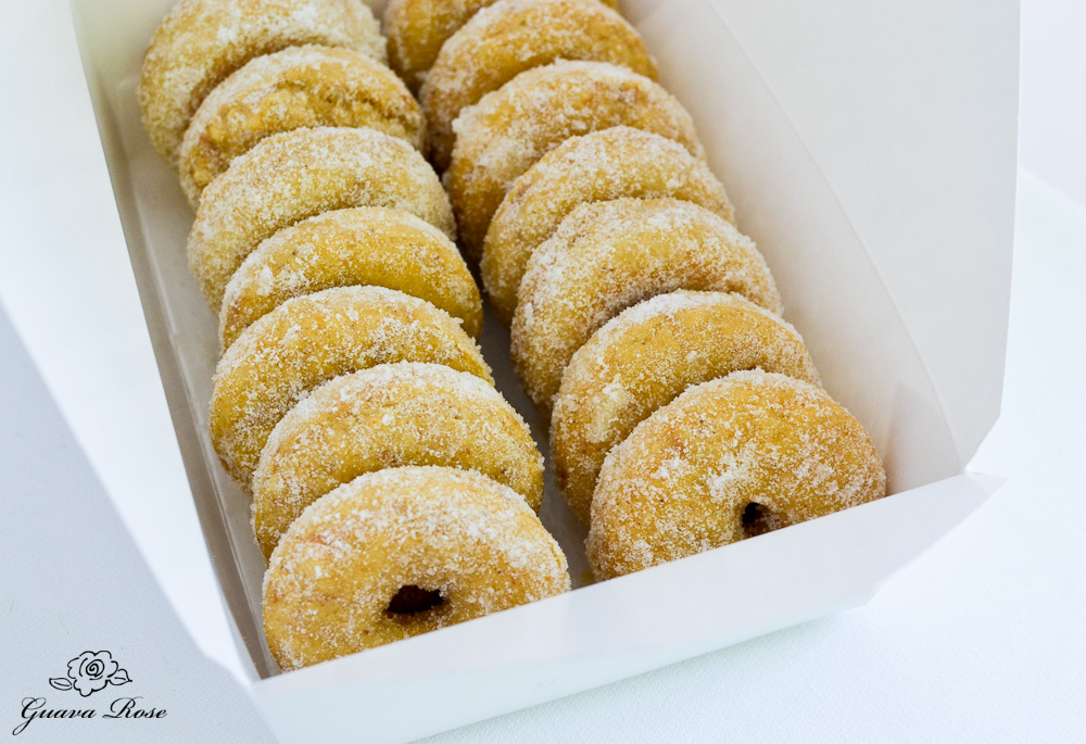 Box of baked donuts