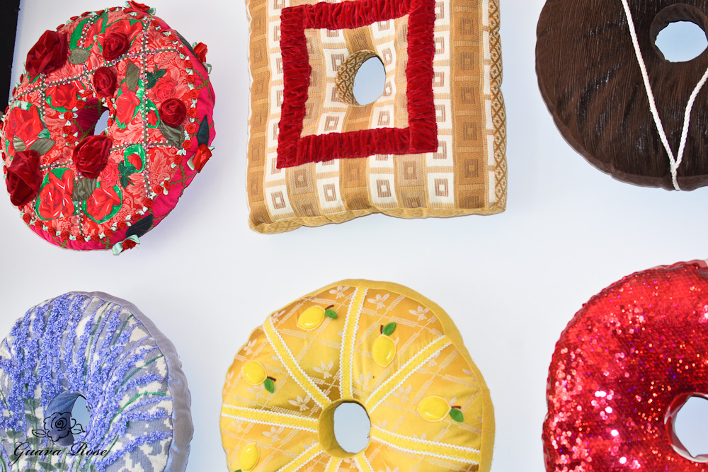 Donut wall pillows, close up