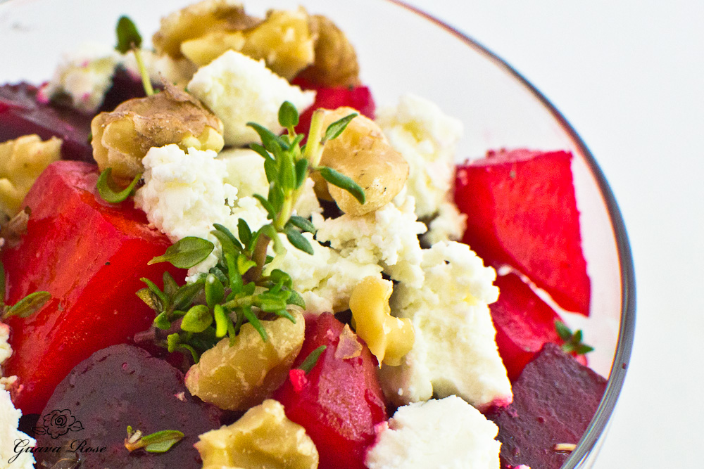 Roasted Beet Salad with Goat Cheese and Walnuts, closeup