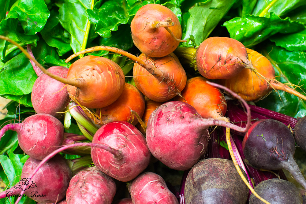 Orange, Pink and Red bunches of beets