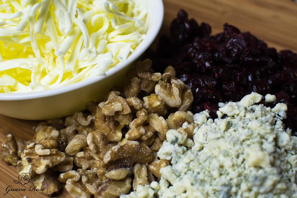 Shredded butter,cranberries,walnuts, gorgonzola cheese