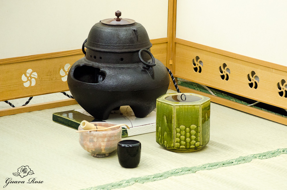 All utensils in place for tea ceremony