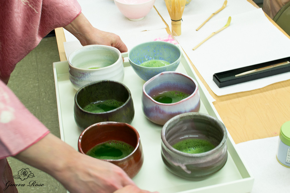 Prepared Matcha in bowls on tray