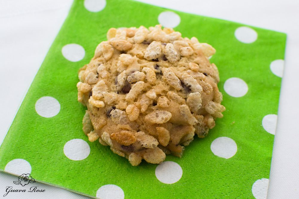 Chocolate Chip Rice Krispie Cookie on Napkin, top view