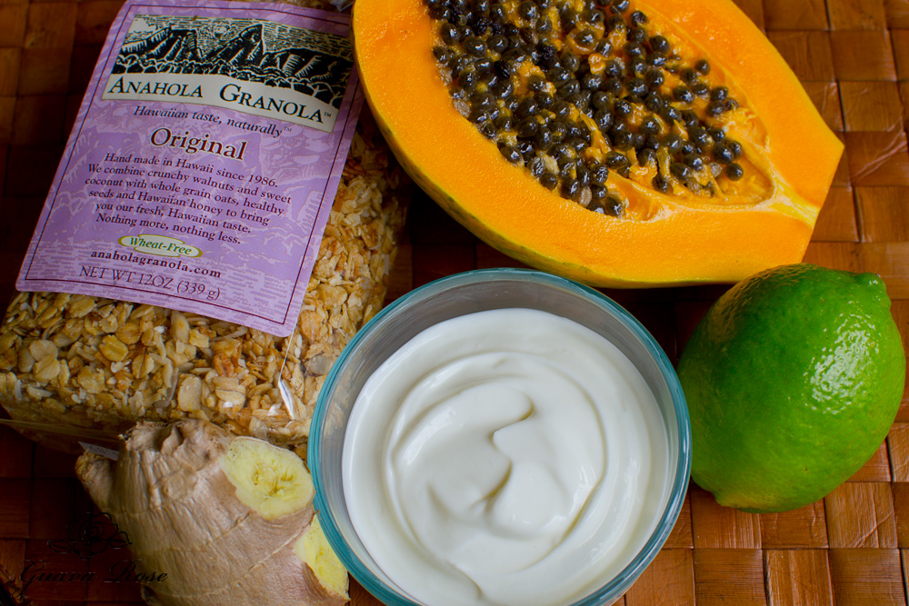 Ingredients for papaya parfait with ginger lime greek yogurt