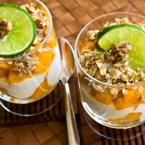 Papaya Parfaits with Ginger Lime Greek Yogurt