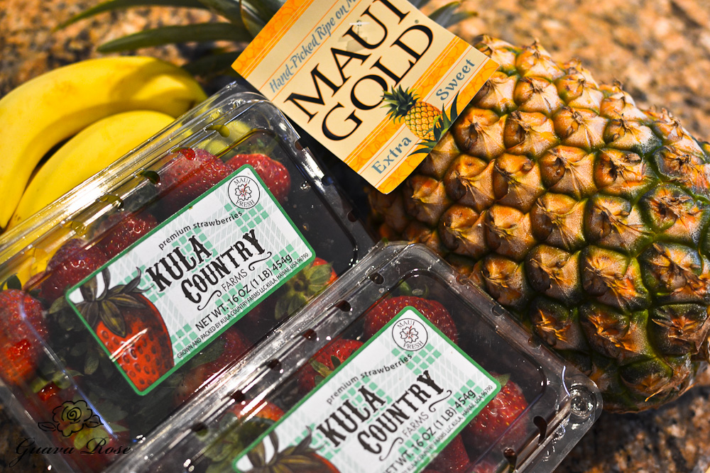Kula strawberried, Maui Gold Pineapple, bananas