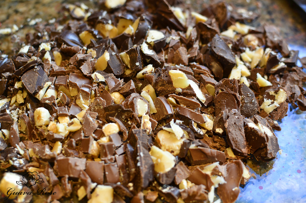Chopped chocolate covered macadamia nut candies