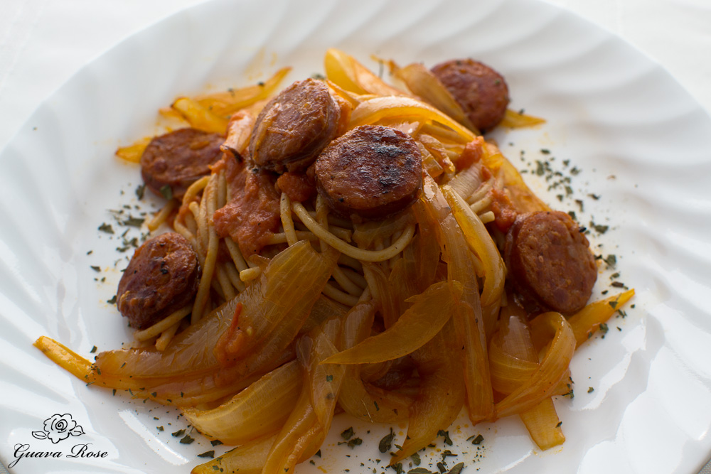pasta w/portuguese sausage, sweet onions, close up