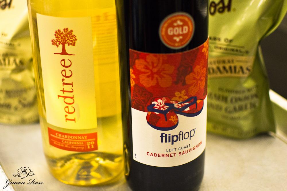 Bottles of Chardonnay and Cabernet