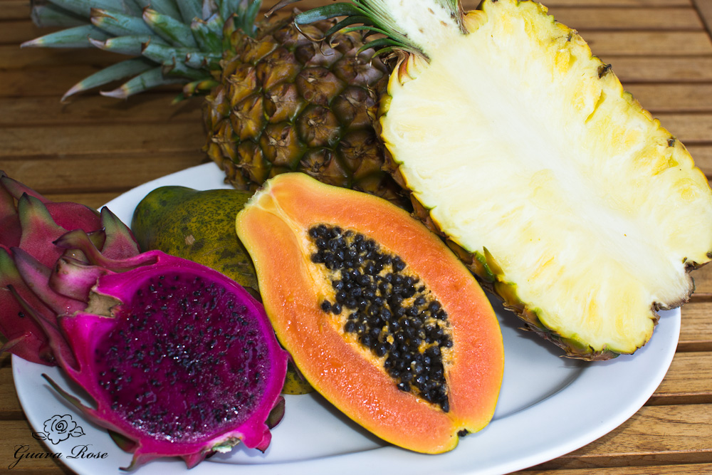 Pineapple, papaya, dragonfruit halves
