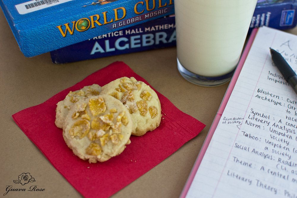 Cornflake cookies, milk, books and notes