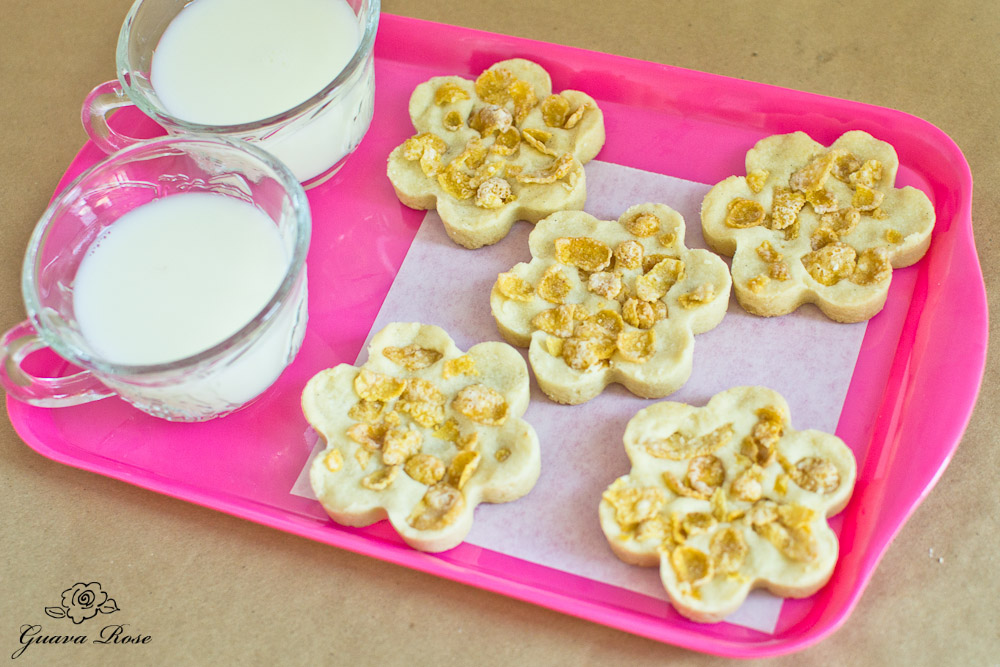 Flower Cornflake Cookies, teacups of milk on tray