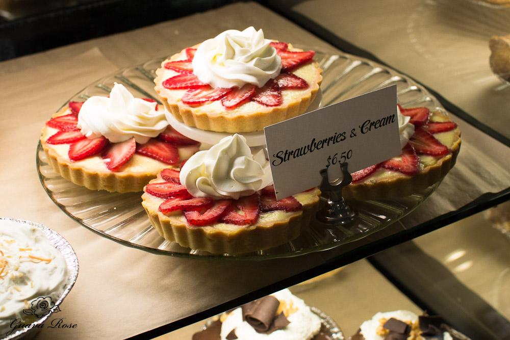 Strawberries and Cream tarts at Leoda's