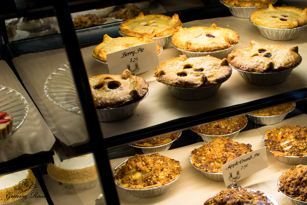 Berry pies and Apple crumb pies at Leoda's