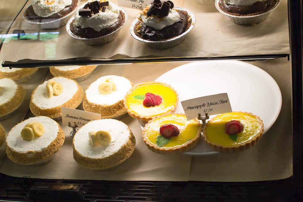 chocolate praline pie, banana cream pie, pineapple yuzu tart at Leoda's