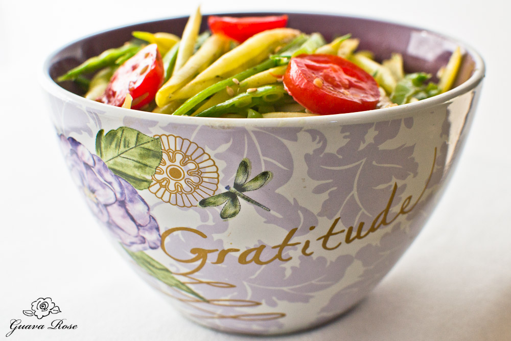 Bowl of Gratitude-stir fried snow peas and yellow string beans