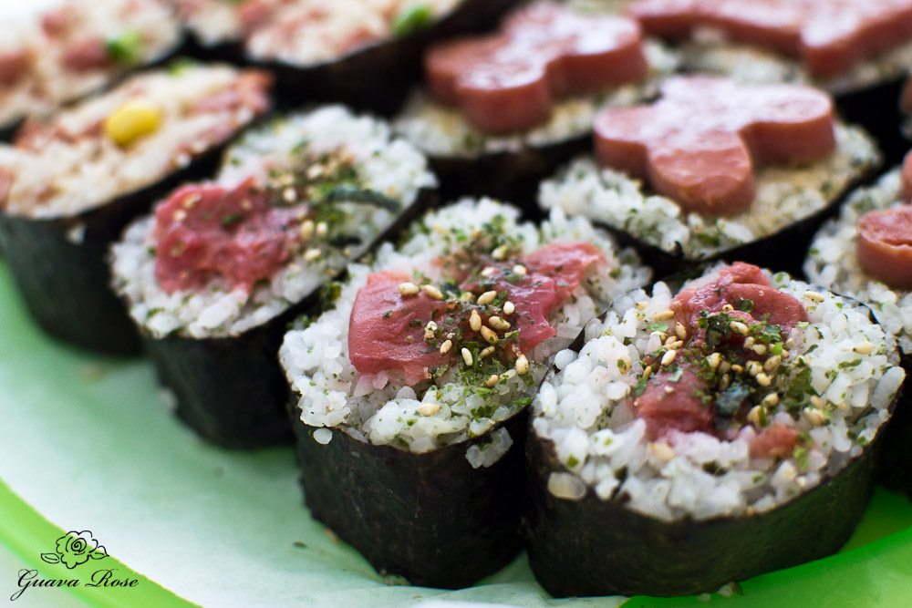 ume furikake musubi, close up