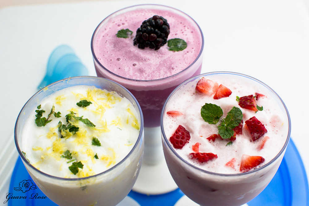 Honey lemon, grape and cranberry greek yogurt slushies