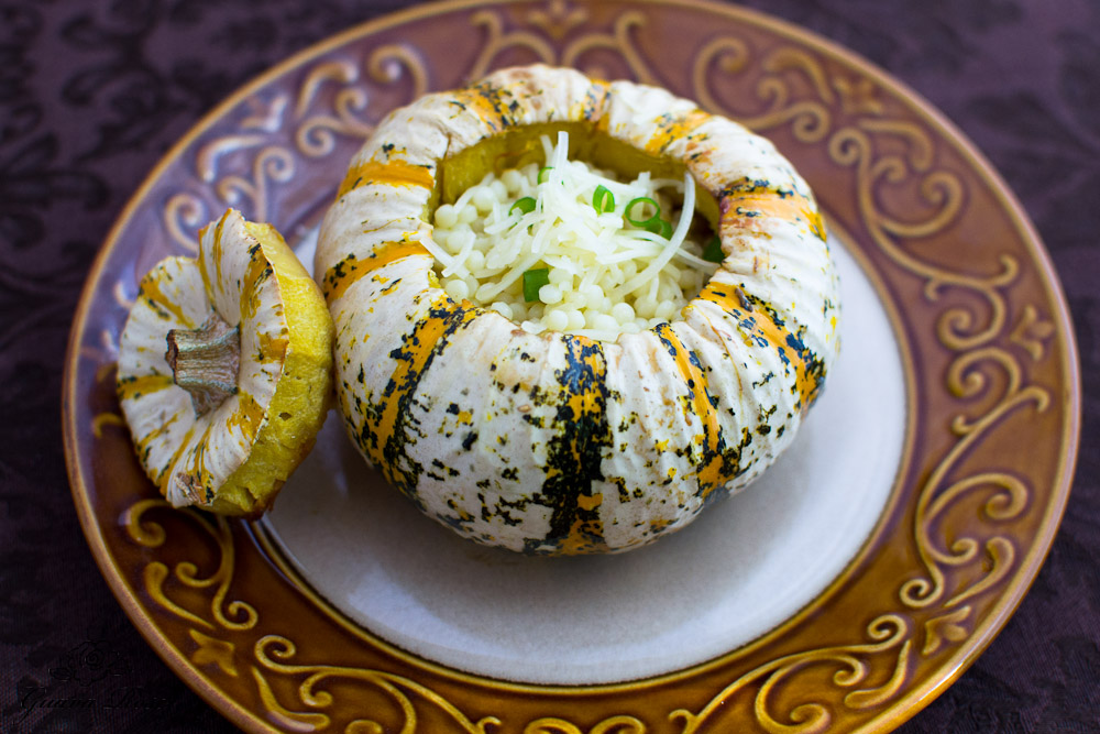 Tiger mini pumpkin filled with pearl couscous