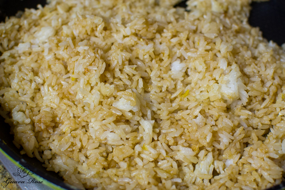Rice fried w/oyster sauce and onion powder